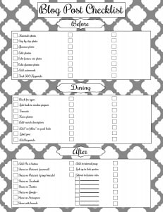 Blog Checklist Free Printable #blogger #print #post