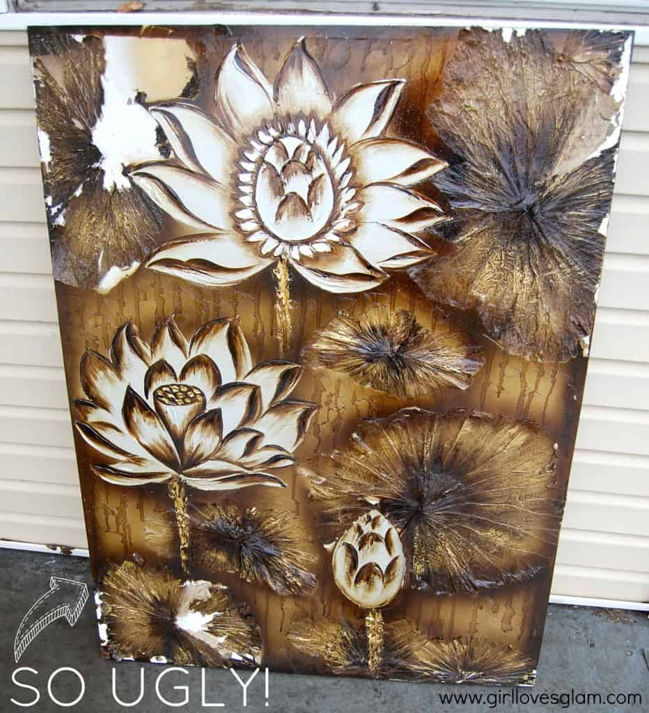 Turn this big ugly canvas into something amazing at www.girllovesglam.com #diy #tutorial