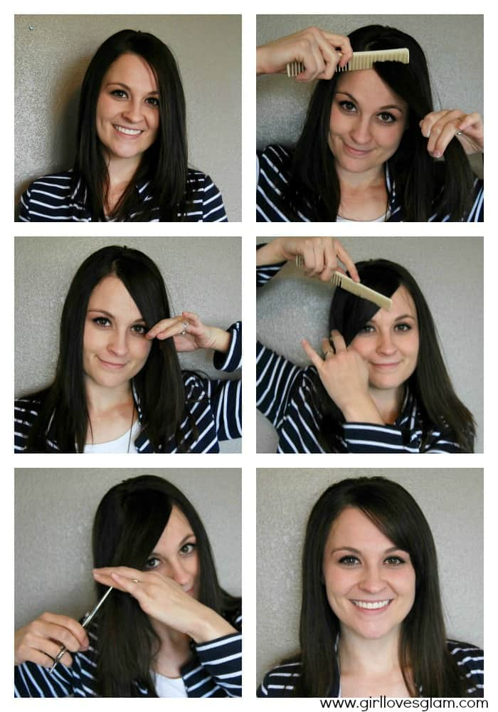 Cut your own side swoop bangs at home on www.girllovesglam.com #diy #hair #bangs #tutorial