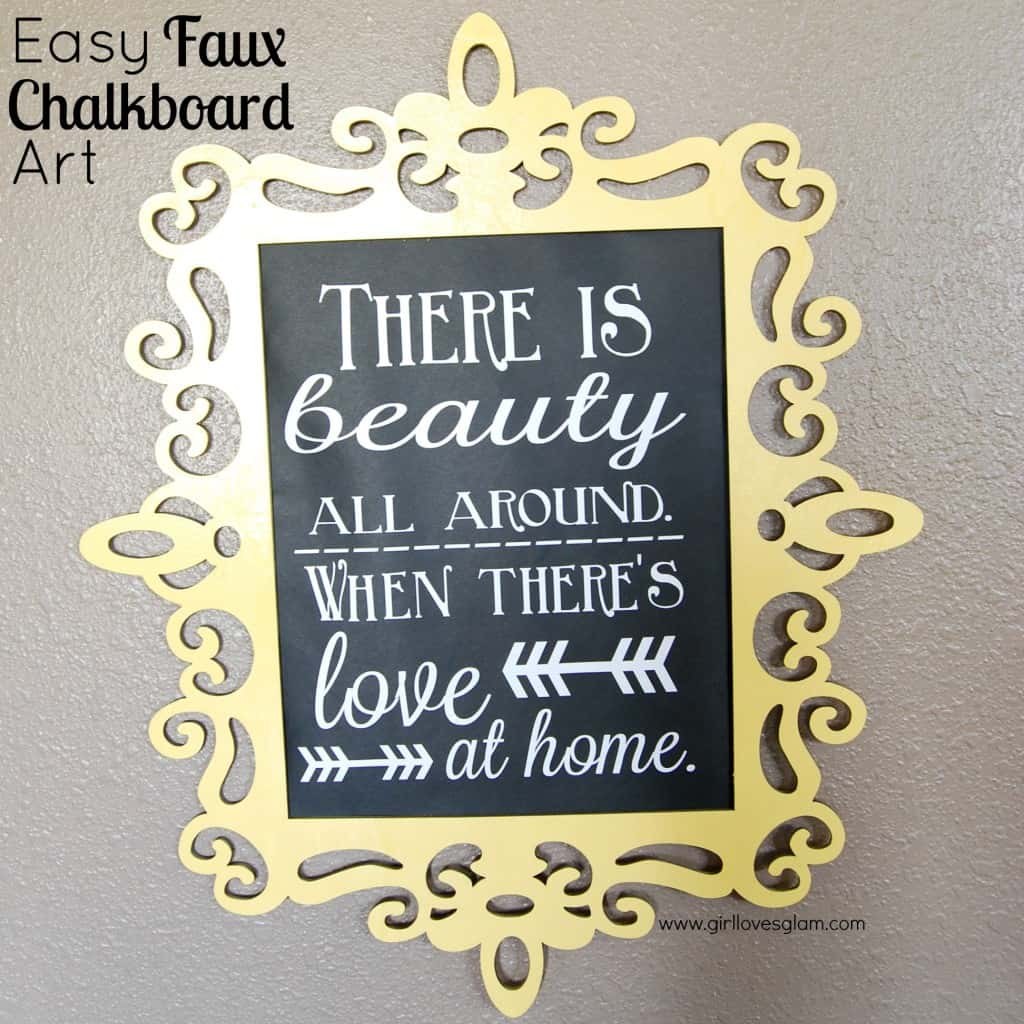 Easy Faux Chalkboard Art at www.girllovesglam.com #diy #tutorial #art