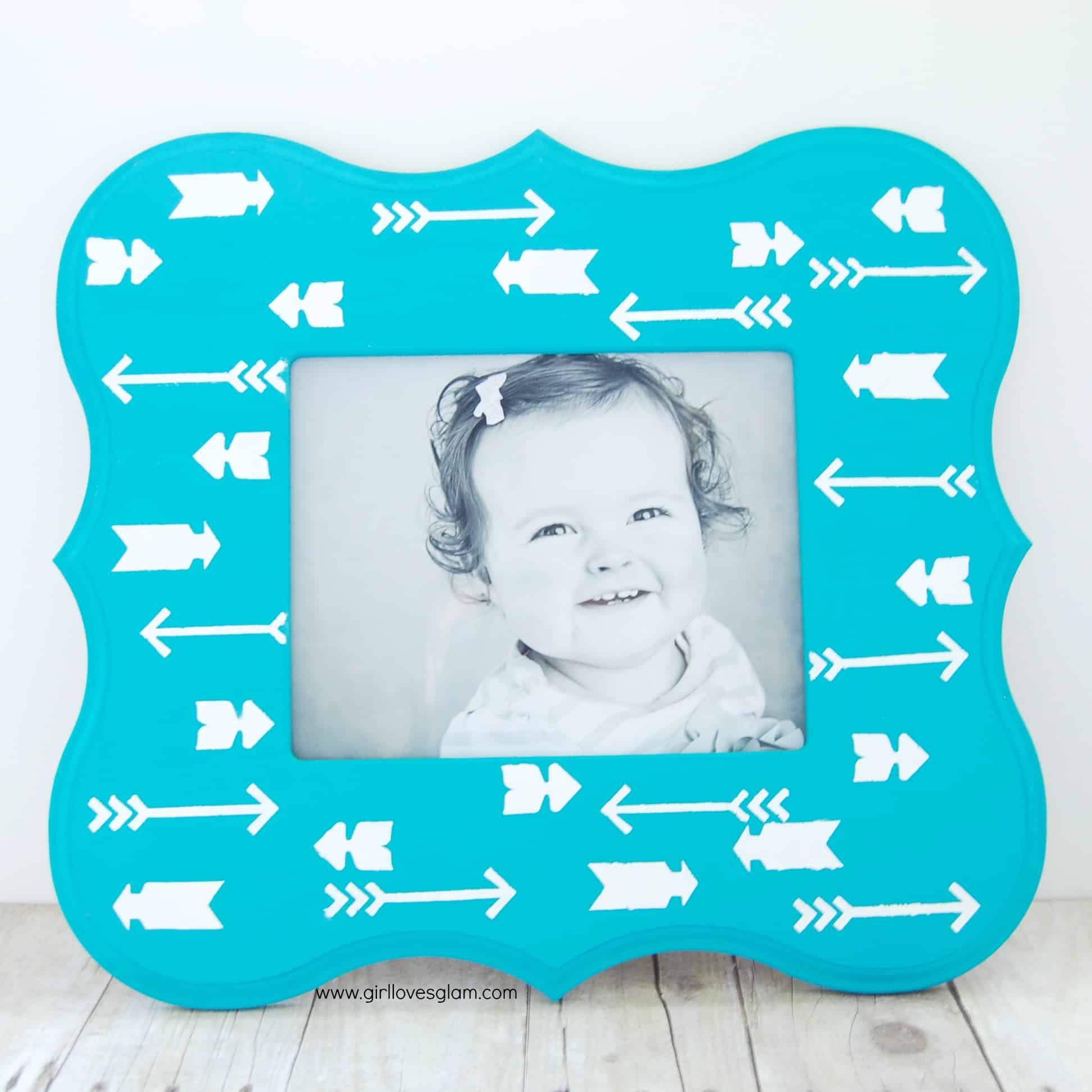 Arrow Print Picture Frame with Handmade Charlotte Stencils - Girl ...