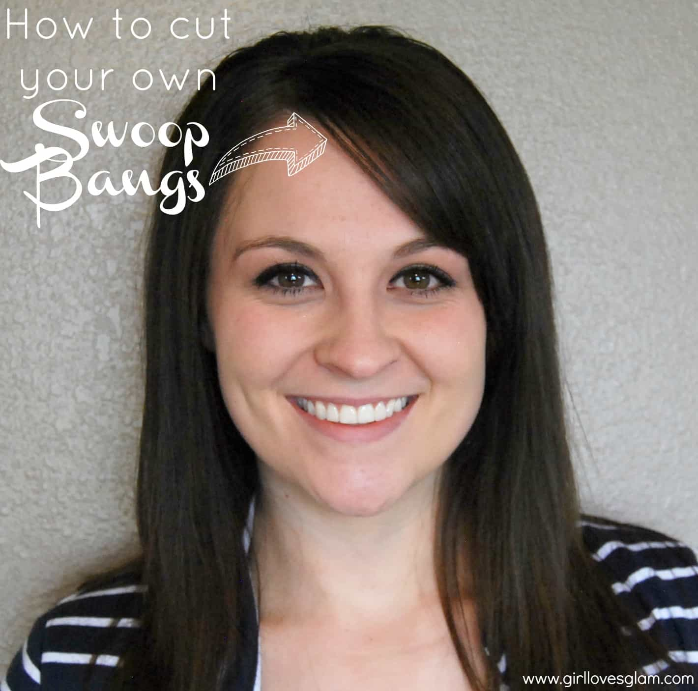 swoop bangs at home on www.girllovesglam.com #diy #hair #cut #tutorial
