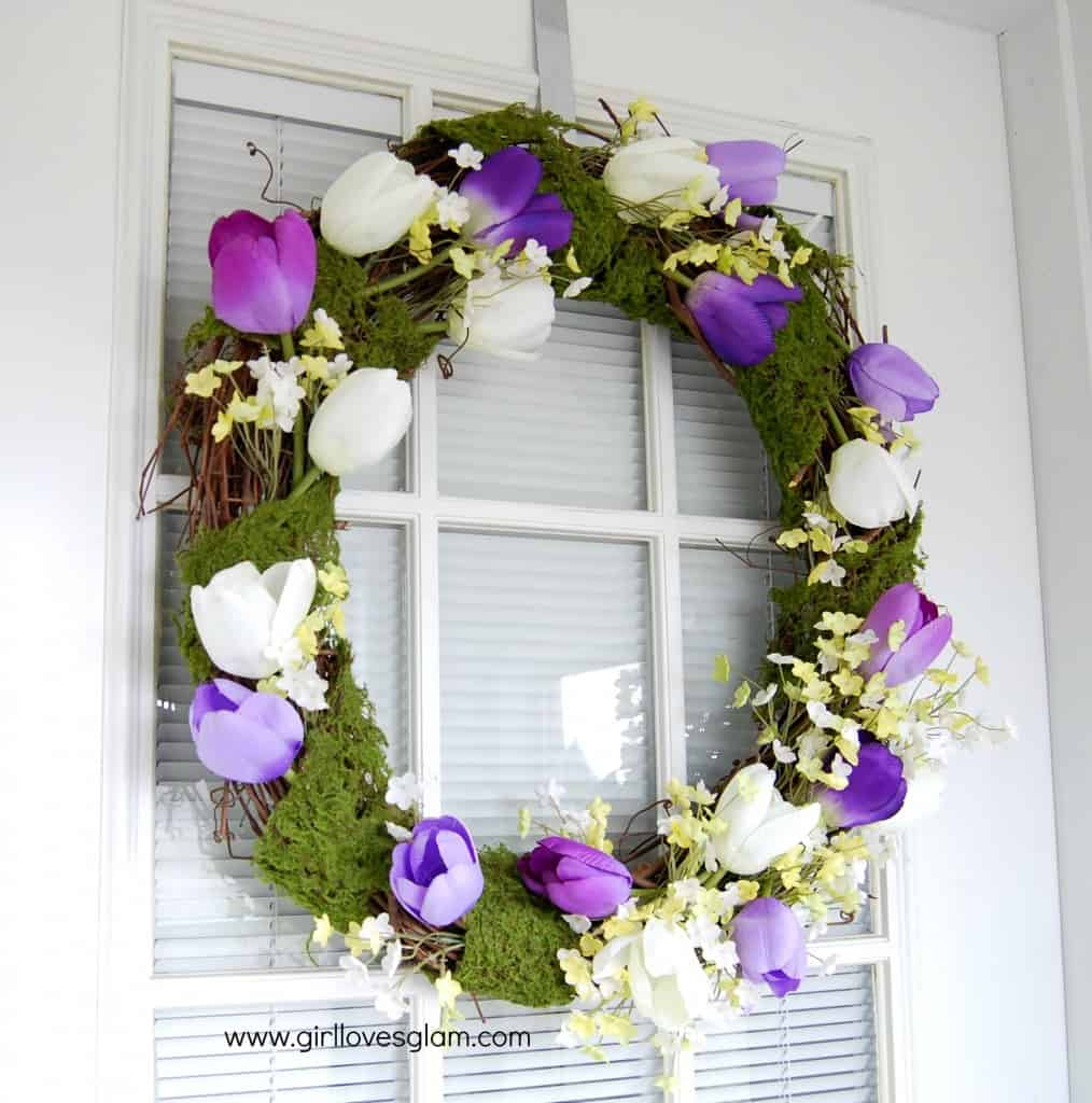 Moss and Tulips Spring Wreath on www.girllovesglam.com #diy #tutorial #spring