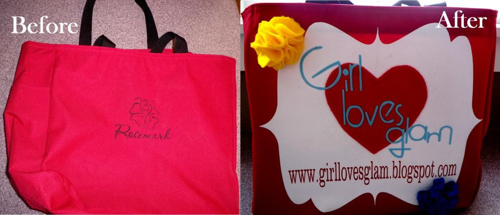 Easy tutorial to turn a free ugly bag into a bag to advertise yourself! www.girllovesglam.com #diy #tutorial #blog