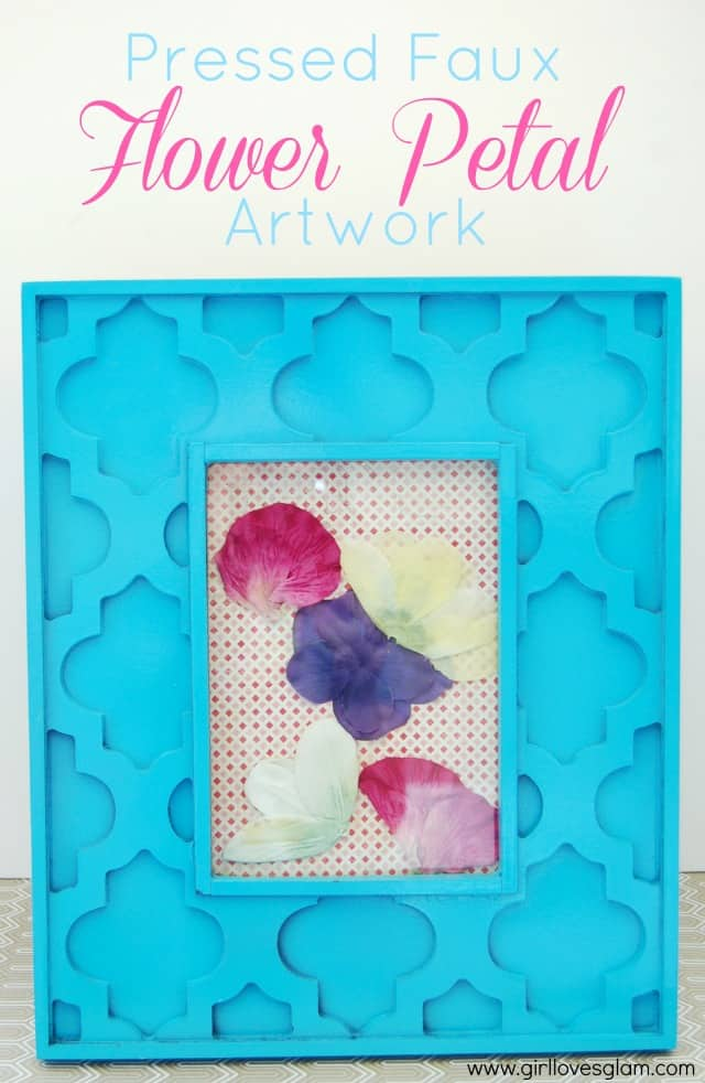 Pressed Faux Flower Petal Artwork on www.girllovesglam.com #decor #craft #floral