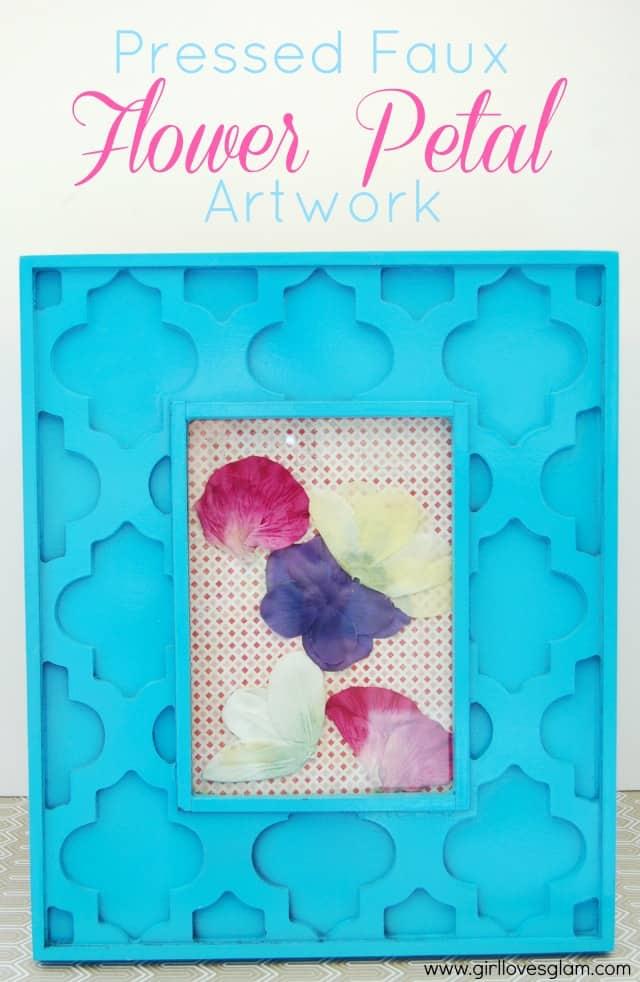 Pressed Faux Flower Petal Artwork on www.girllovesglam.com #decor #craft #floral