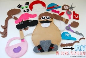 Easy DIY Mr. or Mrs. Potato Head tutorial on www.girllovesglam.com #toy #kid #game