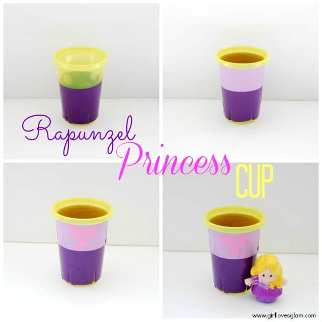 DIY Rapunzel Disney Princess Cup on www.girllovesglam.com #diy #tutorial #tangled
