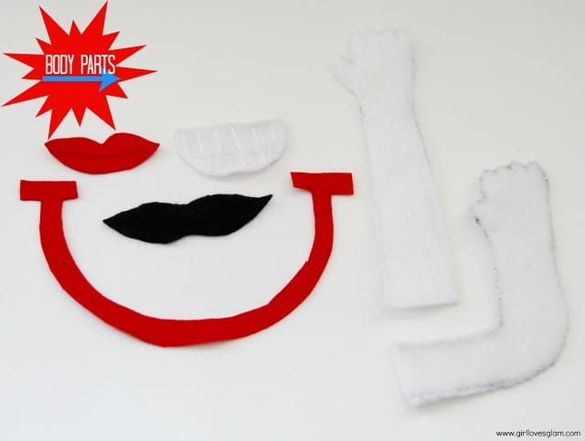 Felt Mr. and Mrs. Potato Head Body Parts on www.girllovesglam.com #mouth #arm #toy
