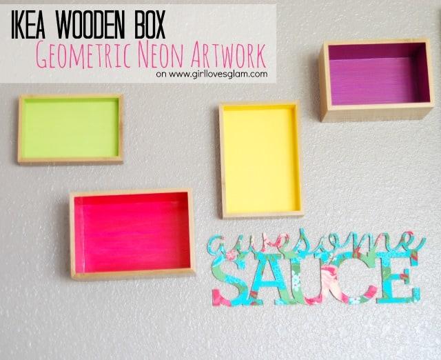 Ikea wooden box geometric neon artwork on www.girllovesglam.com #diy #decor #tutorial