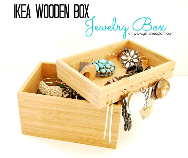Ikea wooden jewelry box how to on www.girllovesglam.com #diy #tutorial #jewelry