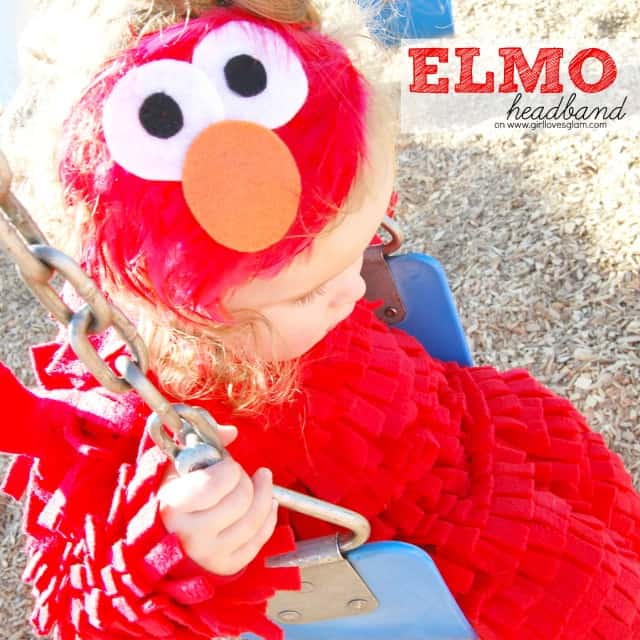 Diy no sew elmo halloween costume girl loves glam elmo headband solutioingenieria Choice Image