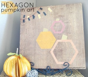Hexagon Pumpkin Art on www.girllovesglam.com #halloween #decor #tutorial