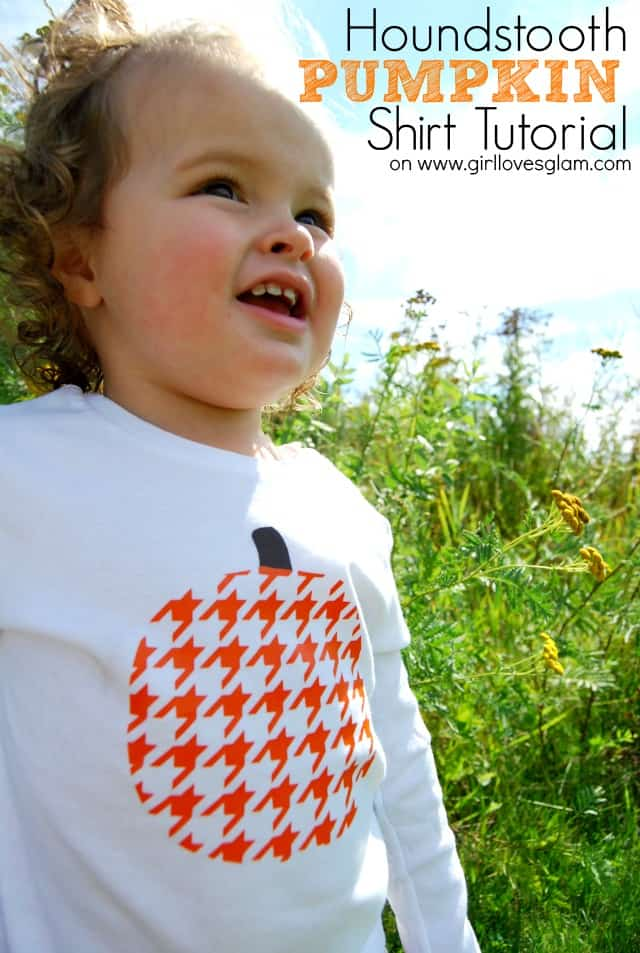 Houndstooth Pumpkin Shirt Tutorial on www.girllovesglam.com #fall #halloween #pumpkin #diy