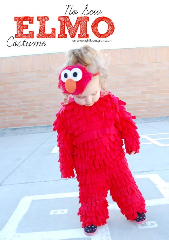Diy No Sew Elmo Halloween Costume Girl Loves Glam
