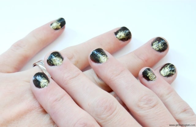 Black and Gold Glitter Nail Art