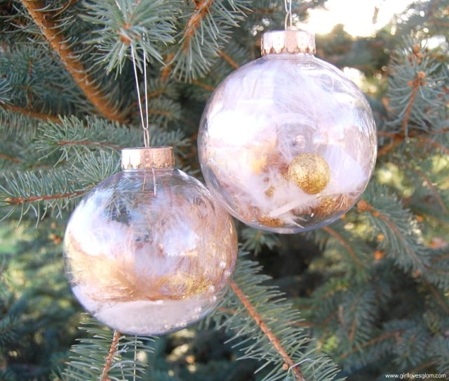 DIY Gold Dipped Feather Ornaments