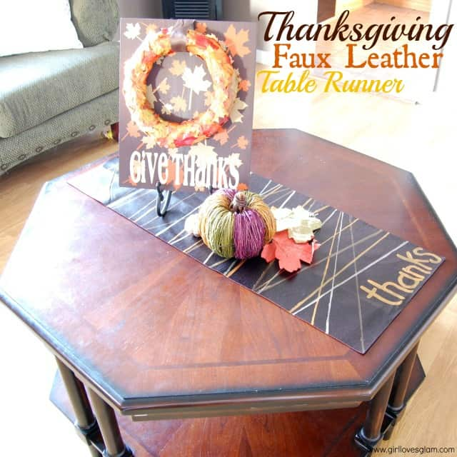 Faux Leather Thanksgiving Table Runner on www,girllovesglam.com #diy #tutorial #thanksgiving