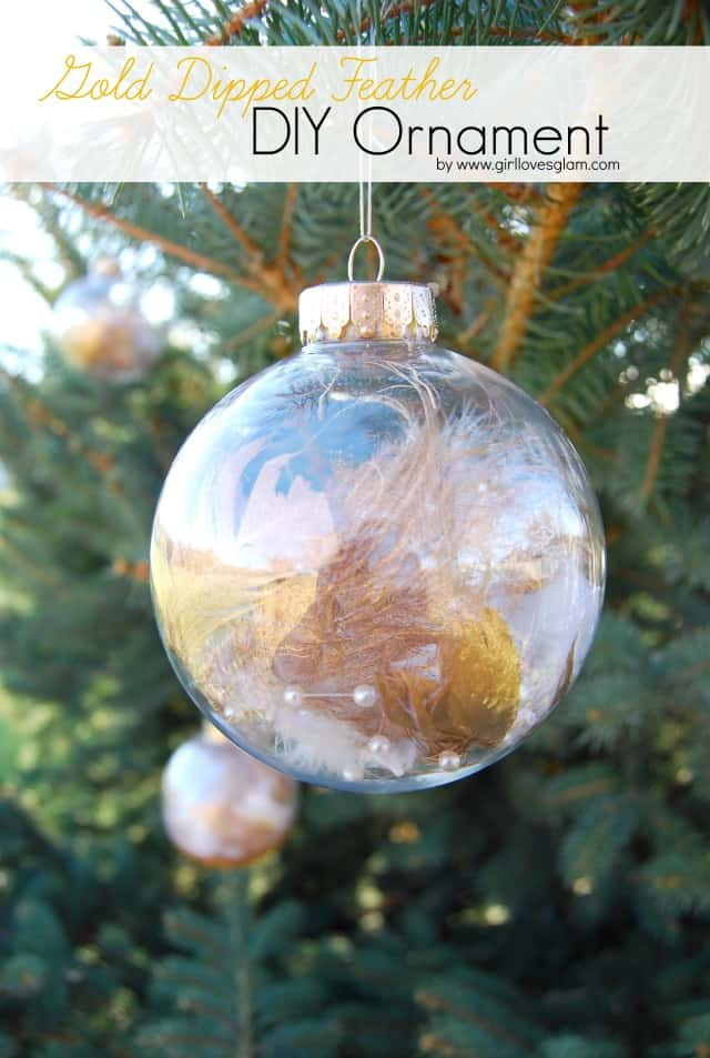 Gold Dipped Feather DIY Ornament
