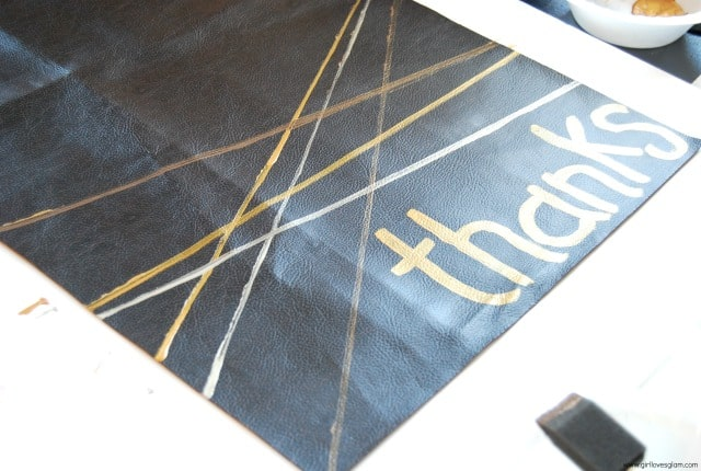 Painted Faux Leather Table Runner