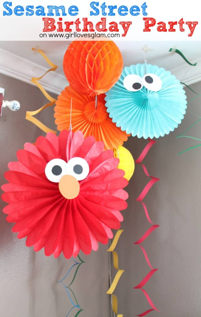 Sesame street elmo birthday party girl loves glam diy sesame street birthday party decorations on girllovesglam birthday decor solutioingenieria Image collections