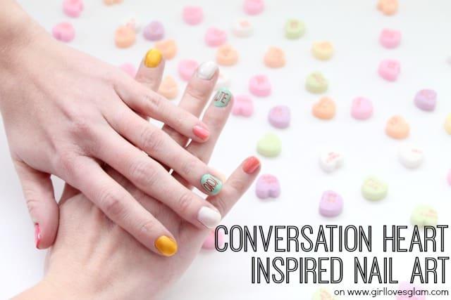 Conversation Heart Inspired Nail Art Tutorial
