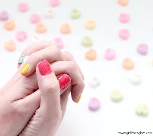 Conversation Heart Valentine Nail Art