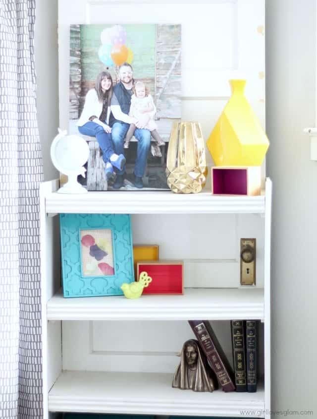 Modern shelf decor and living room makeover on www.girllovesglam.com #homedecor