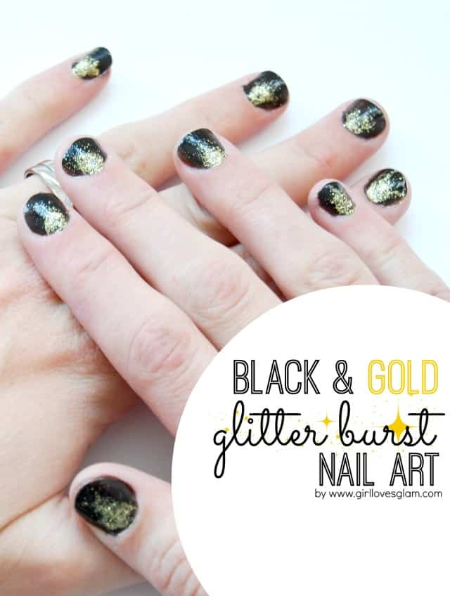 Black and Gold Glitter Burst Nail Art