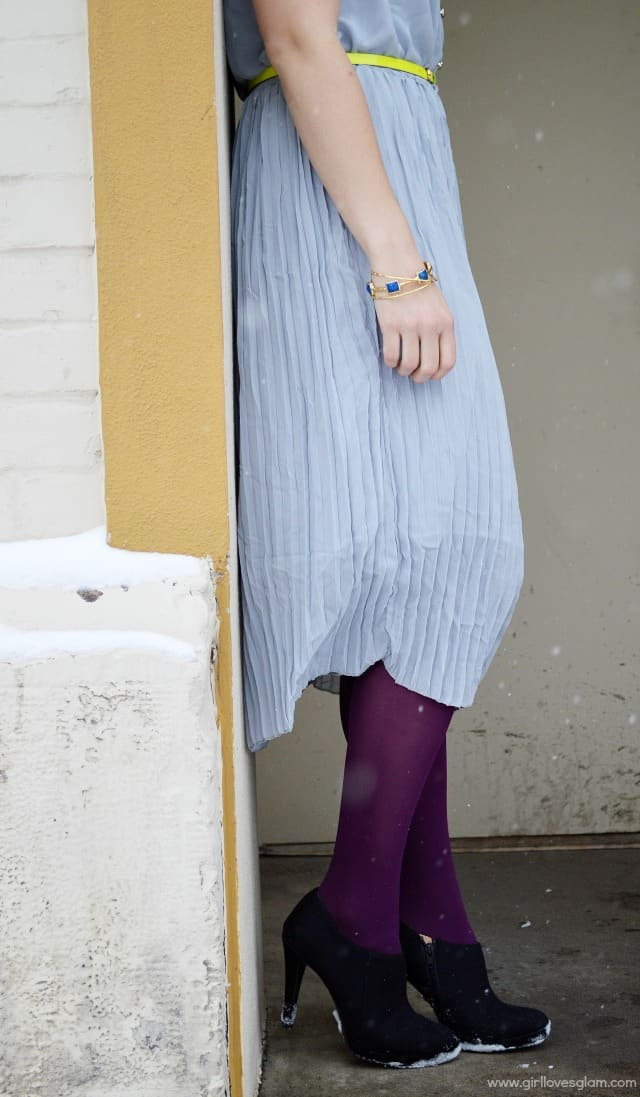 Gray pleated dress Spring Look