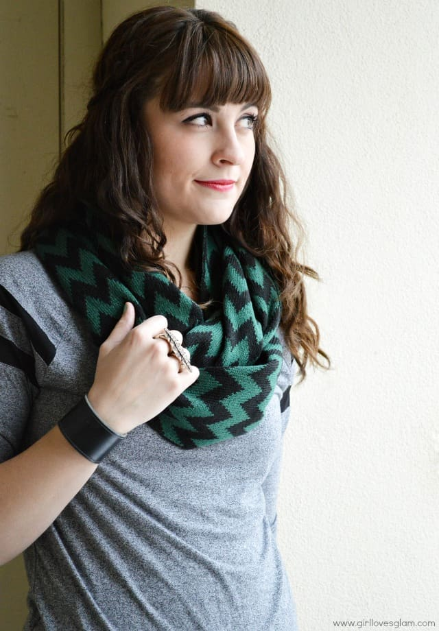 Green and Black Chevron Scarf
