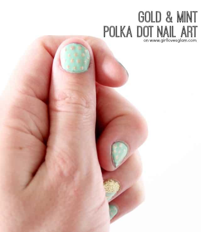 Spring Gold and Mint Polka Dot Nail Art