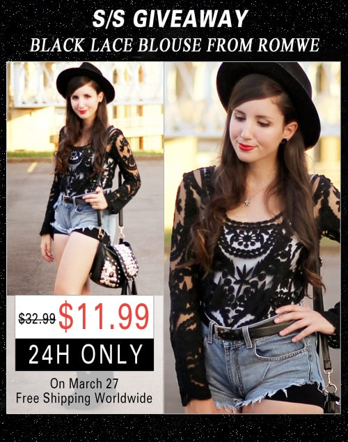 Romwe Black Lace Shirt Giveaway