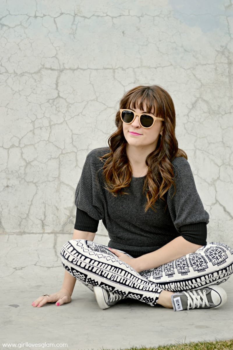 Casual Sweater and Printed Leggings look on www.girllovesglam.com