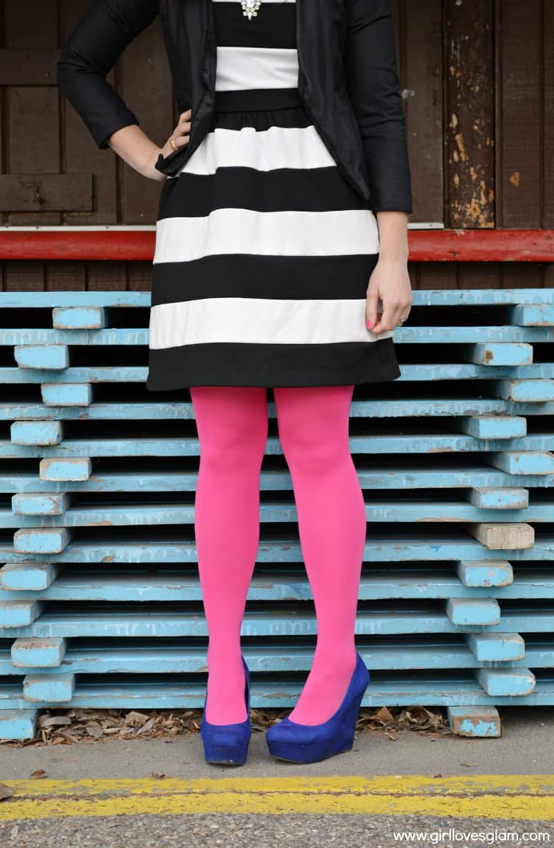 Striped Dress with Bright Accents on www.girllovesglam.com