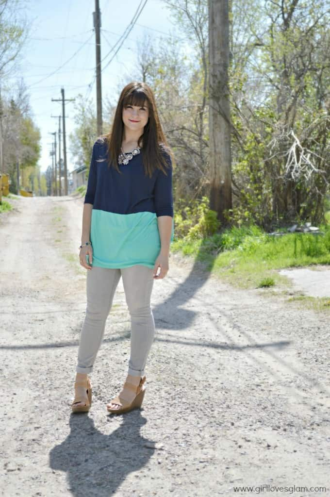 casual color blocked top style on www.girllovesglam.com