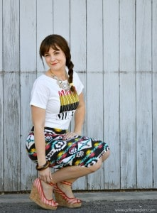 Lipstick shirt and Aztec Skirt outfit on www.girllovesglam.com