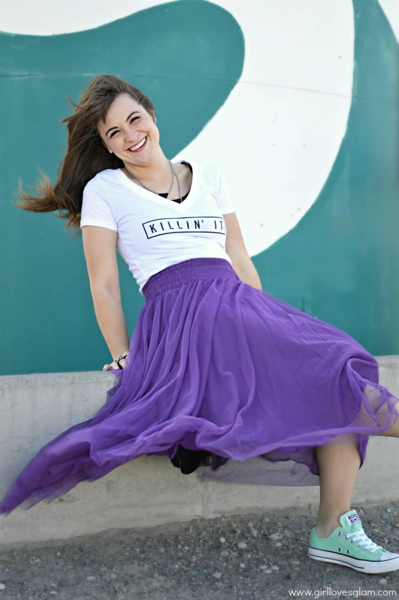 Purple tutu with tshirt and converse outfit on www.girllovesglam.com