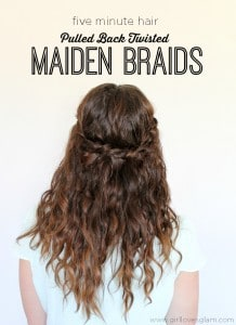 Five Minute Pulled Back Twisted Maiden Braid Hair Tutorial on www.girllovesglam.com