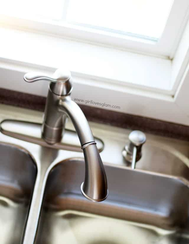 Gorgeous nickel finish Moen Faucet on www.girllovesglam.com