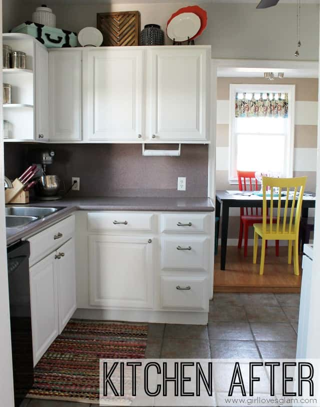How to Paint Cabinets and Add Hardware {Kitchen Makeover} - Girl ...