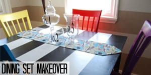 Striped Kitchen Table and colored Chairs DIY makeover on www.girllovesglam.com