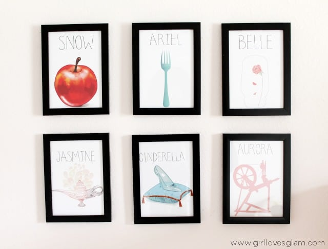 Disney Princess Artwork from Alice and Ivory on www.girllovesglam.com