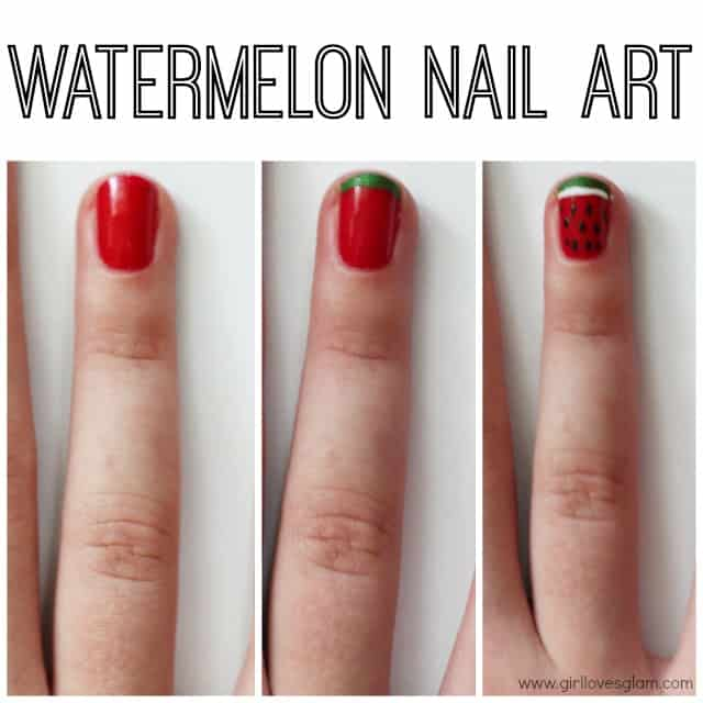 Easy watermelon nail art tutorial on www.girllovesglam.com
