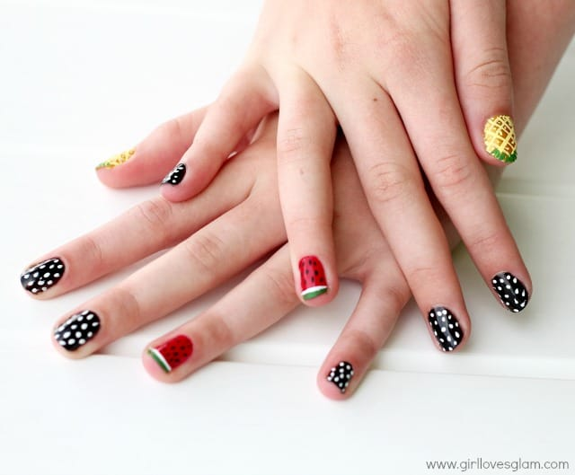 Fruit retro inspired nail art including watermelon and pineapple nails on www.girllovesglam.com