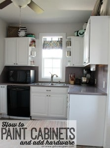 How to paint cabinets and add hardware to your kitchen on www.girllovesglam.com