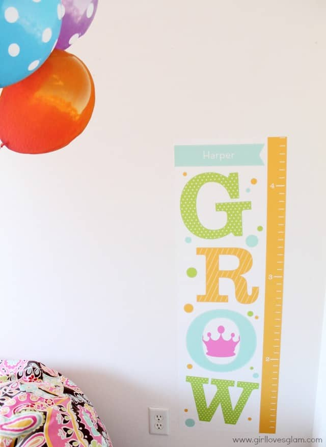 Growth Chart Wall Decal on www.girllovesglam.com