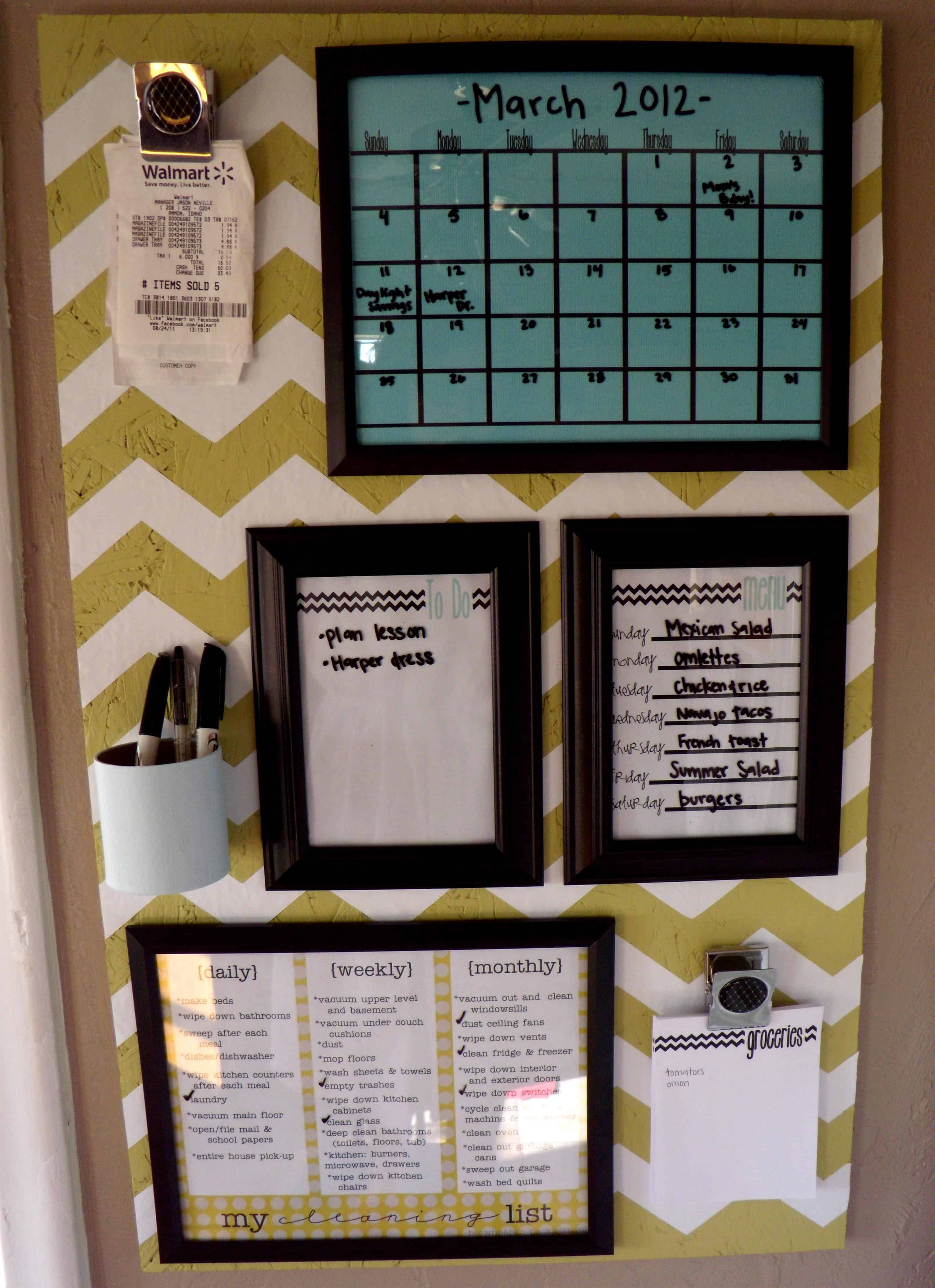 Organization board family command center girl loves glam Home decor hacks pinterest