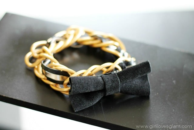 Chain link leather bow bracelet tutorial on www.girllovesglam.com