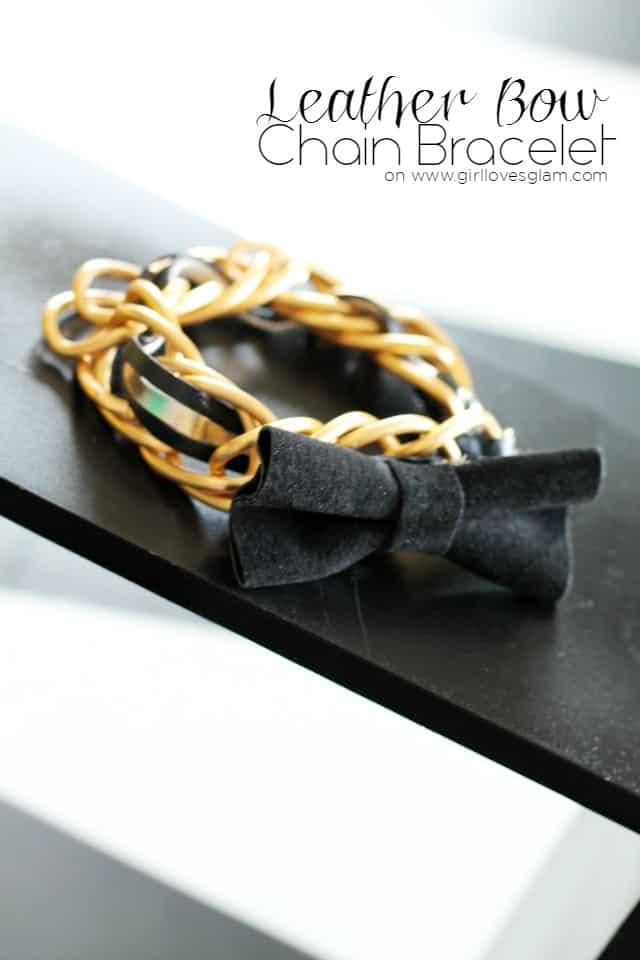 Leather Bow Chain Bracelet Tutorial on www.girllovesglam.com
